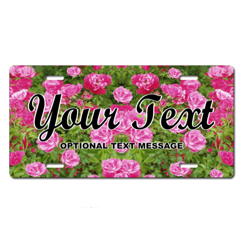 Personalized Pink Flowers License Plate for Bicycles, Kid's Bikes, Carts, Cars or Trucks