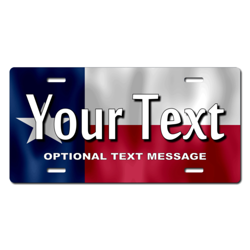 Personalized Texas State Flag License Plate for Bicycles, Kid's Bikes, Carts, Cars or Trucks