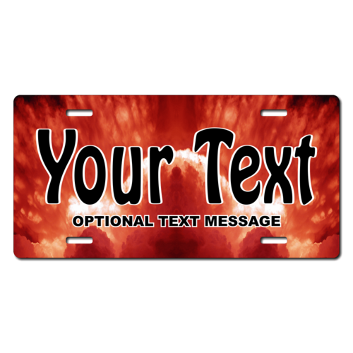 Personalized Red Sky License Plate for Bicycles, Kid's Bikes, Carts, Cars or Trucks