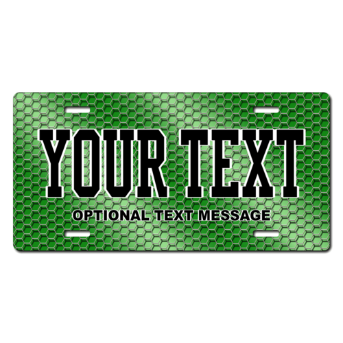 Personalized Green Hexagon License Plate for Bicycles, Kid's Bikes, Carts, Cars or Trucks