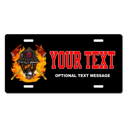 Personalized Firefighter Helmet License Plate for Bicycles, Kid's Bikes, Carts, Cars or Trucks