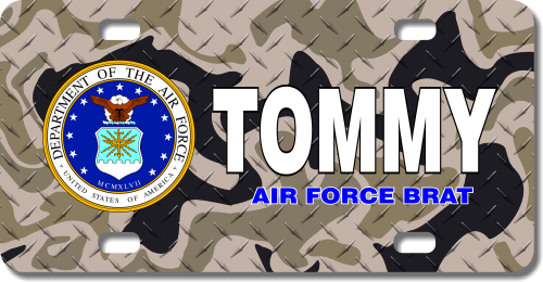 Personalized U.S. Air Force Seal / Brown Camo Background License Plate for Bicycles, Kid's Bikes, Ca