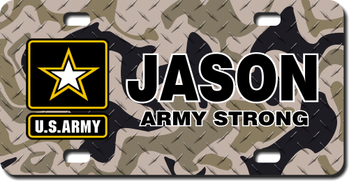 Personalized Army Star Emblem w/ Brown Camo Background License Plate for Bicycles, Kid's Bikes, Cart