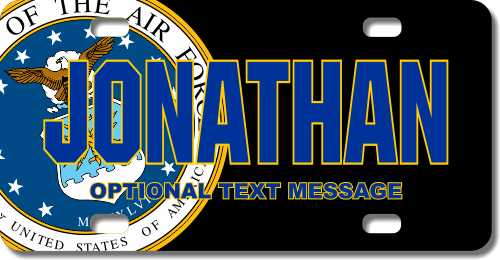 Personalized Air Force Seal / Black Background License Plate for Bicycles, Kid's Bikes, Carts, Cars
