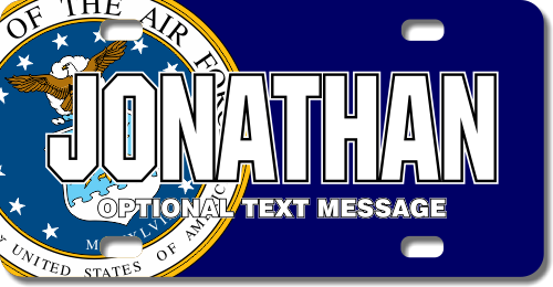 Personalized Air Force Seal / Navy Background License Plate for Bicycles, Kid's Bikes, Carts, Cars o