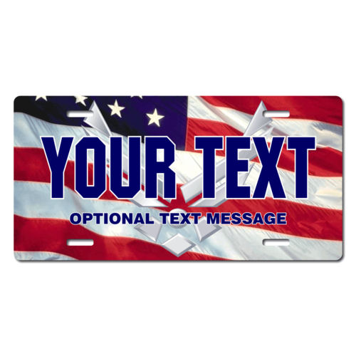 Personalized U.S. Air Force / American Flag License Plate for Bicycles, Kid's Bikes, Carts, Cars or
