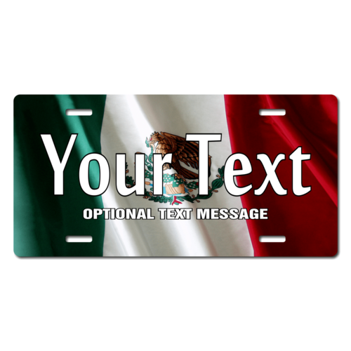 Personalized Mexico Flag License Plate for Bicycles, Kid's Bikes, Carts, Cars or Trucks