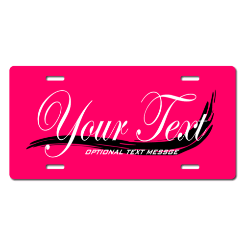 Personalized Black Swoosh License Plate for Bicycles, Kid's Bikes, Carts, Cars or Trucks