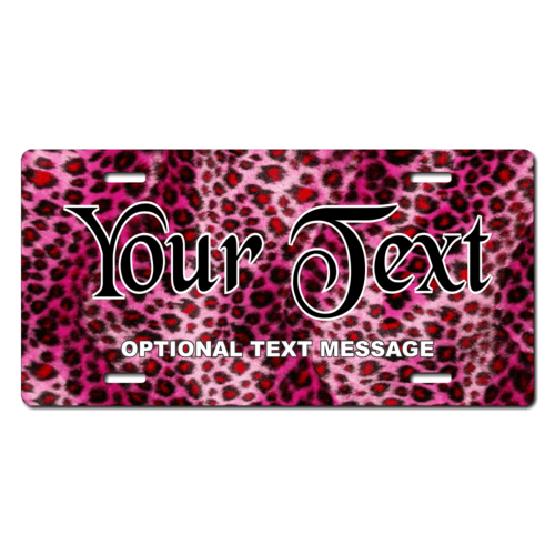 Personalized Pink Cheetah License Plate for Bicycles, Kid's Bikes, Carts, Cars or Trucks