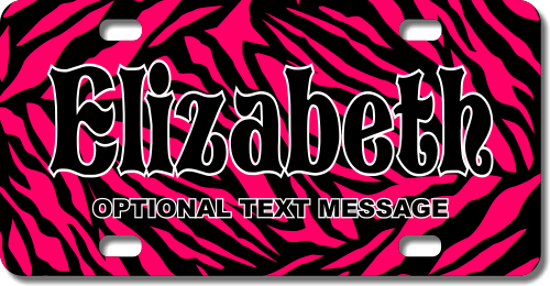 Personalized Pink Zebra Print License Plate for Bicycles, Kid's Bikes, Carts, Cars or Trucks