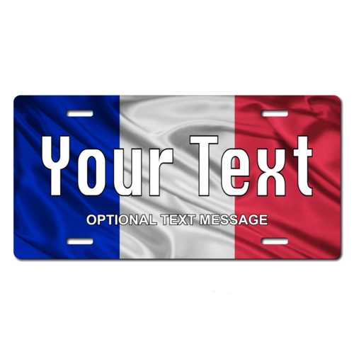 Personalized France Flag License Plate for Bicycles, Kid's Bikes, Carts, Cars or Trucks