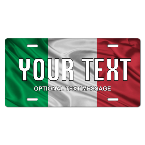 Personalized Italian Flag License Plate for Bicycles, Kid's Bikes, Carts, Cars or Trucks