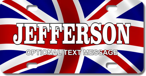 Personalized United Kingdom Flag License Plate for Bicycles, Kid's Bikes, Carts, Cars or Trucks