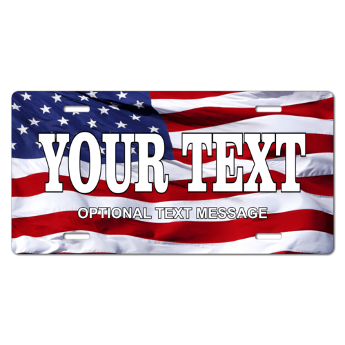 Personalized American Flag License Plate for Bicycles, Kid's Bikes, Carts, Cars or Trucks