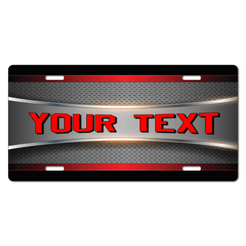 Personalized Red/Black Metal Design License Plate for Bicycles, Kid's Bikes, Carts, Cars or Trucks