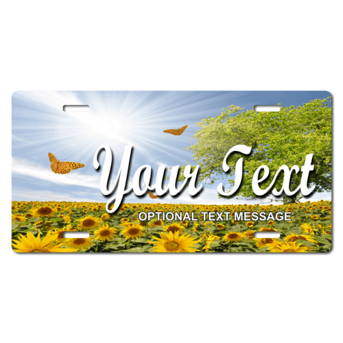 Personalized Sunflowers/Butterflies License Plate for Bicycles, Kid's Bikes, Carts, Cars or Trucks