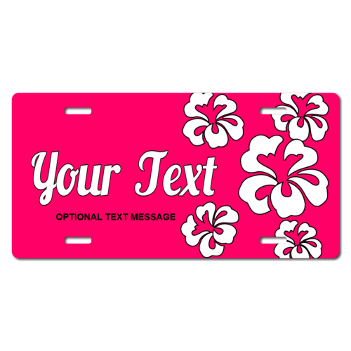 Personalized Pink Background/ White Hawaiian Flowers License Plate for Bicycles, Kid's Bikes, Carts,