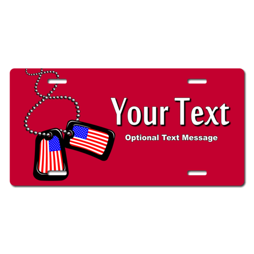 Personalized American Flag Dog Tags License Plate for Bicycles, Kid's Bikes, Carts, Cars or Trucks