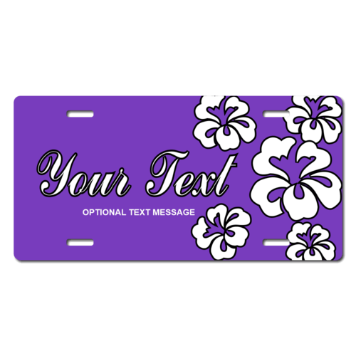 Personalized Purple Hawaiian Flowers License Plate for Bicycles, Kid's Bikes, Carts, Cars or Trucks
