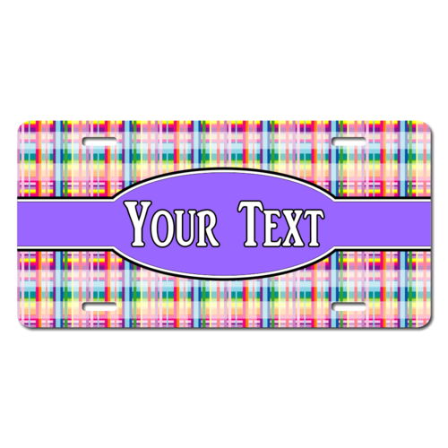 Personalized Plaid Pattern License Plate for Bicycles, Kid's Bikes, Carts, Cars or Trucks