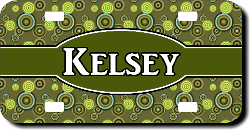 Personalized Green Circles License Plate for Bicycles, Kid's Bikes, Carts, Cars or Trucks
