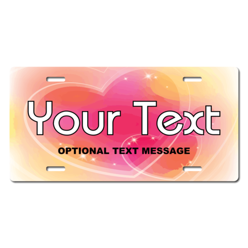 Personalized Outlined Hearts License Plate for Bicycles, Kid's Bikes, Carts, Cars or Trucks