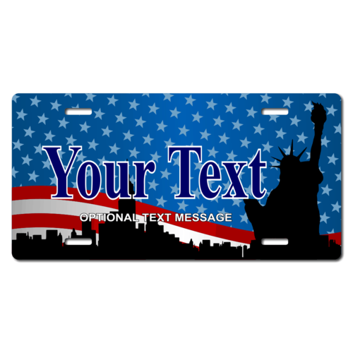Personalized American Flag/Statue of Liberty License Plate for Bicycles, Kid's Bikes, Carts, Cars or