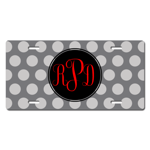 Personalized Polka Dot Monogram License Plate for Bicycles, Kid's Bikes, Carts, Cars or Trucks
