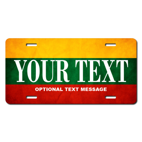 Personalized Lithuanian Flag License Plate for Bicycles, Kid's Bikes, Carts, Cars or Trucks