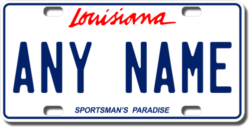 Personalized Louisiana License Plate for Bicycles, Kid's Bikes, Carts, Cars or Trucks