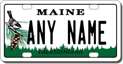 CUSTOM PERSONALIZED ALUMINUM BICYCLE MINI STATE LICENSE PLATE-MAINE