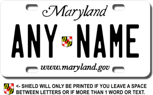Personalized Maryland License Plate for Bicycles, Kid's Bikes, Carts, Cars or Trucks