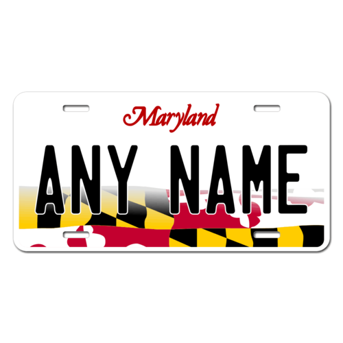 Personalized Maryland License Plate for Bicycles, Kid's Bikes, Carts, Cars or Trucks Version 3