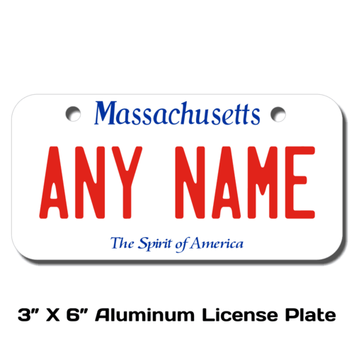 Personalized Massachusetts 3 X 6 License Plate