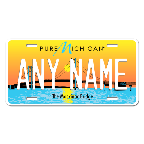 Personalized Michigan License Plate for Bicycles, Kid's Bikes, Carts, Cars or Trucks Version 4