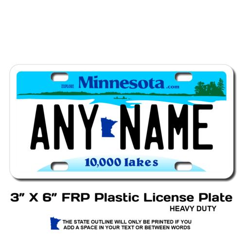 Personalized Minnesota 3 X 6 Plastic License Plate
