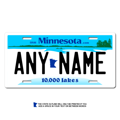 Personalized Minnesota License Plate for Bicycles, Kid's Bikes, Carts, Cars or Trucks