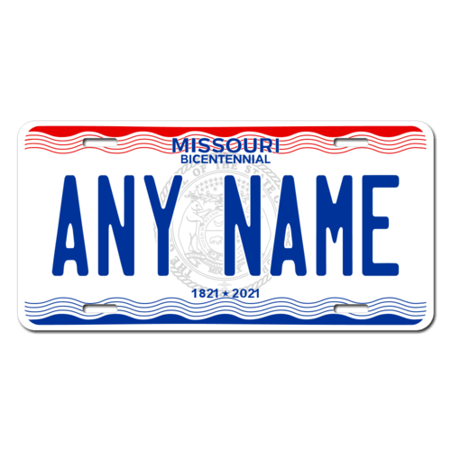 Personalized Missouri License Plate for Bicycles, Kid's Bikes, Carts, Cars or Trucks Version 3