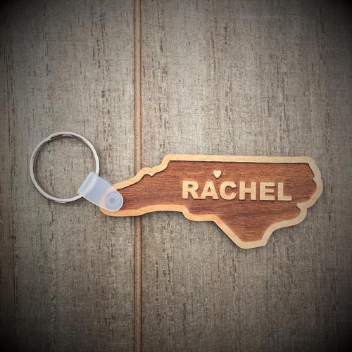 Personalized North Carolina Laser Etched Key Ring