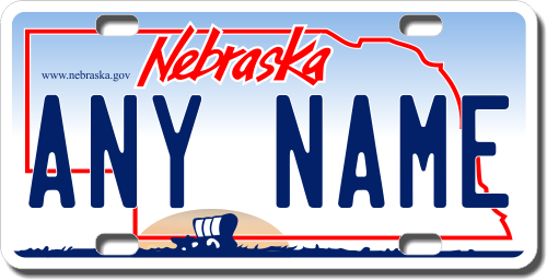 personalized nebraska license plate for bicycles, kid's bikes, carts