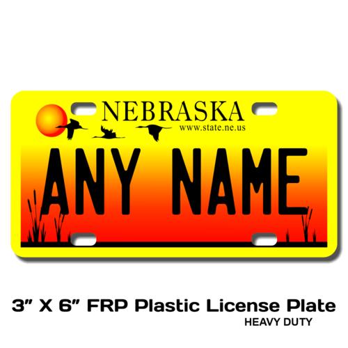 Personalized Nebraska 3 X 6 Plastic License Plate
