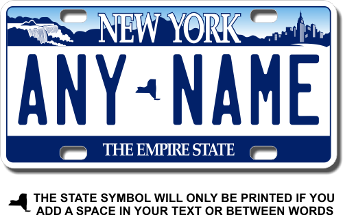 Personalized New York License Plate for Bicycles, Kid's Bikes, Carts, Cars or Trucks