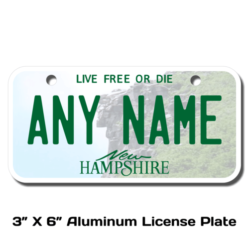 Personalized New Hampshire 3 X 6 License Plate