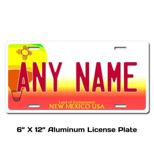 Personalized New Mexico 3 X 6 Plastic License Plate