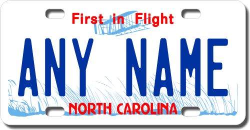 Personalized North Carolina License Plate for Bicycles, Kid's Bikes, Carts, Cars or Trucks