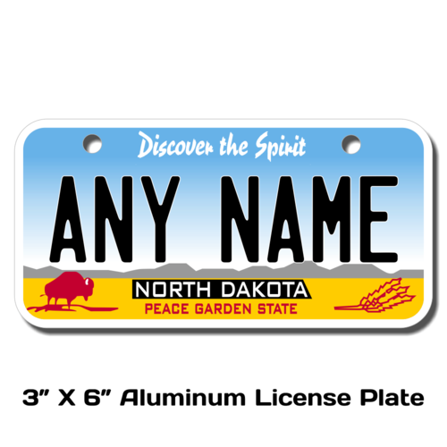 Personalized North Dakota 3 X 6 License Plate