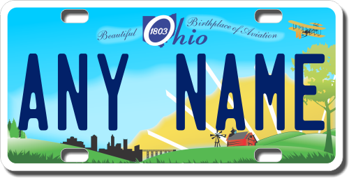 Personalized Ohio License Plate for Bicycles, Kid's Bikes, Carts, Cars or Trucks Version 2