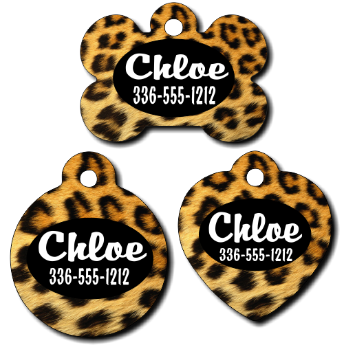 Personalized Leopard Print Background Pet Tag for Dogs and Cats
