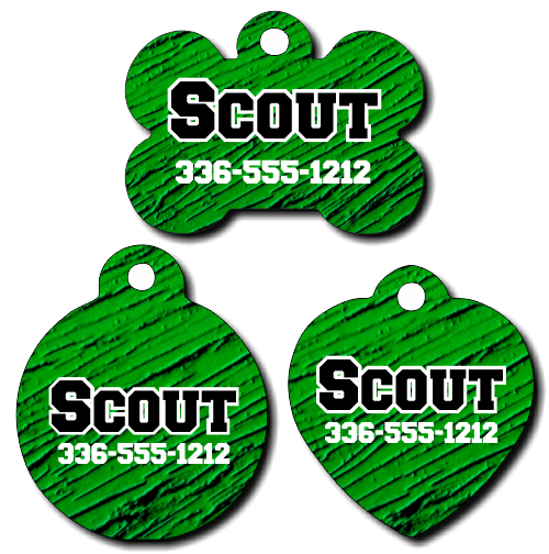 Personalized Green Textured Pet Tag for Dogs and Cats