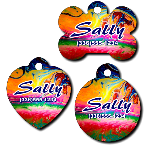 Personalized Color Swirl Background Pet Tag for Dogs and Cats